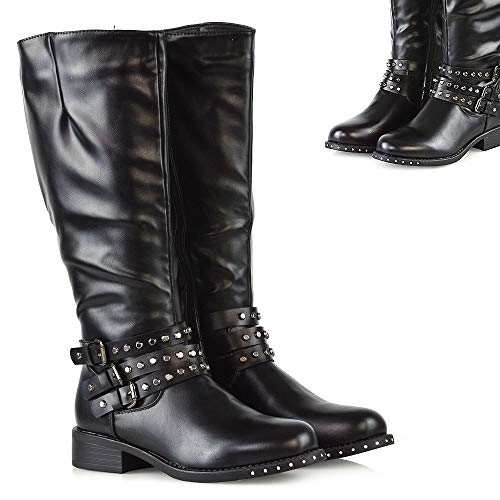 Womens Studded Knee High Boots Ladies Strappy Zip Up Buckle Low Block Heel Biker Shoes
