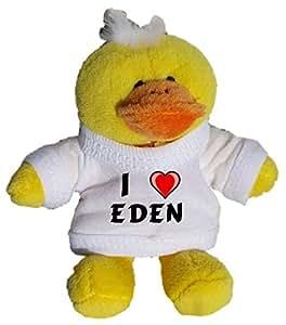 Pollo de peluche (llavero) con Amo Eden en la camiseta