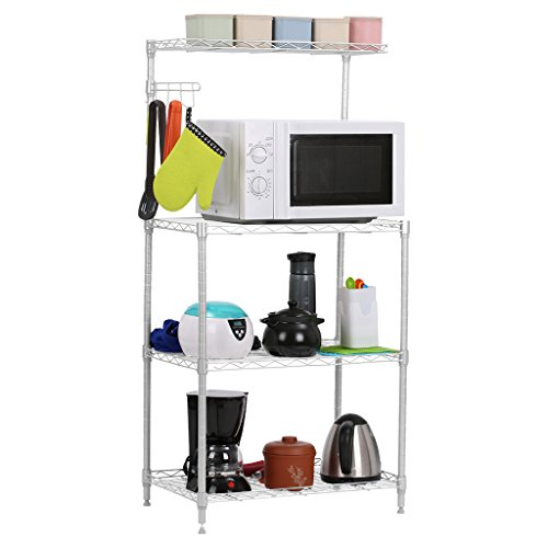 LANGRIA 3-Tier Microwave Bakers Storage Rack with Adjustable Wire Mesh Shelves, 4-Side Hooks, Top Shelf, 165lbs. Weight Capacity, 23.215.447.2'', Silver Finish