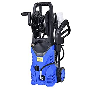 Goplus 2030PSI Electric High Pressure Washer Machine 1.7 GPM 1800W W/ Hose Reel (Blue)