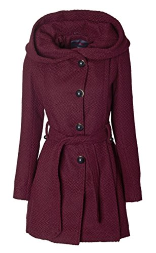 Belted Wool Jacket (Sportoli Womens Single Breasted Wool Blend Belted Winter Dress Drama Coat with Hood - Merlot (Size X-Large))