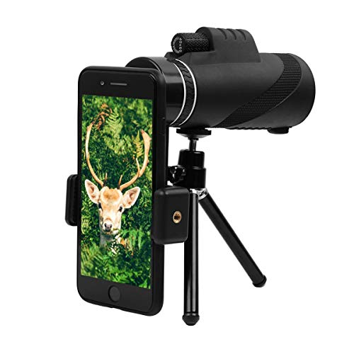 40x60 Monocular Telescope,GEMWON High-Powered BAK4 Prism FMC Lens Waterproof Scope with Smartphone Adapter Tripod Holder for Wildlife Like Bird-Watching,Travel,Concert,Sports etc by GEMWON