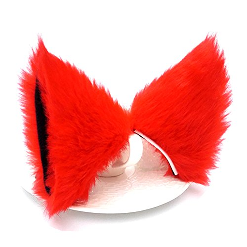 Sheicon Cat Fox Fur Ears Hair Clip Headwear Anime Cosplay Halloween Costume Color Red Size One Size -