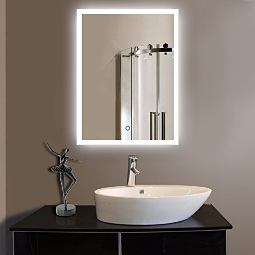 ShellKingdom LED Backlit Mirror with Border, LED Wall Mounted Lighted Vanity Bathroom Silvered Illuminated Mirror with Touch Button(SK-S5520) by ShellKingdom