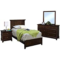 Patterson Kids Wood Panel Twin Bed, Nightstand, Dresser & Mirror - 4 Piece in Sable Brown