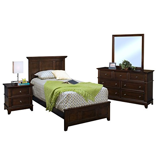 Patterson Kids Wood Panel Twin Bed, Nightstand, Dresser & Mirror - 4 Piece in Sable Brown by NCF