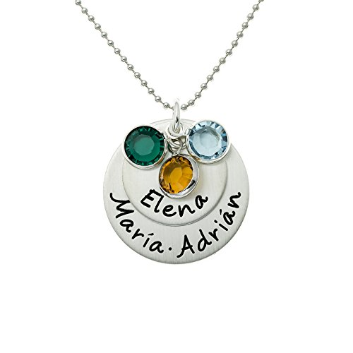 (AJ's Collection Loving Names Personalized Sterling Silver Charm Necklace. Customize with up to 3 names and 3 Swarovski Birthstones. Choice of 925 Chain. Gifts for Her, Wife, Mom, Grandmother)