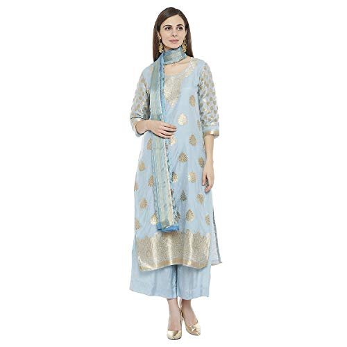 PinkShink Women's Readymade Sky Blue Banarasi Silk Indian/Pakistani Salwar Kameez Dupatta, Small