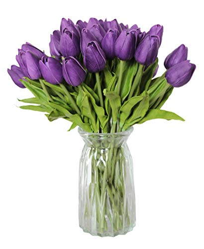 ALIERSA 10-Heads Home Deocr Mini Tulip Real Touch Tulip Artificial Flowers Bouquets (Dark Purple)