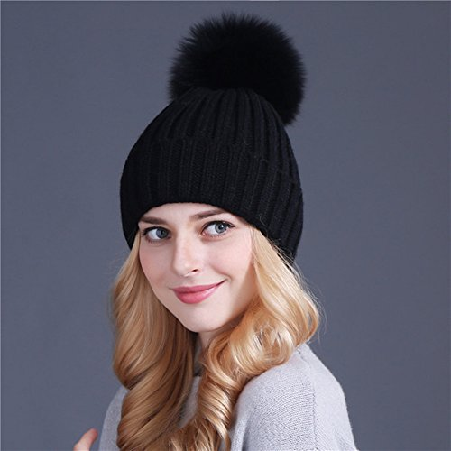 Roniky Winter Knit Hat Real Raccoon Fur Pom Pom Womens Girls Knit Beanie Hat (Black with black fox pom)