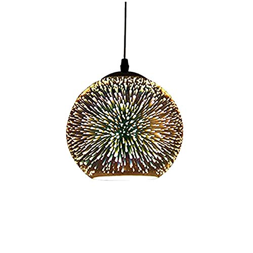 Modern Pendant Light, Motent Industrial Minimalism 3D Colourful Glass Hanging Lamp in Globe Shape, Creative Simplicity Adjustable 1-Light Drop Lighting Fixture, 9.8