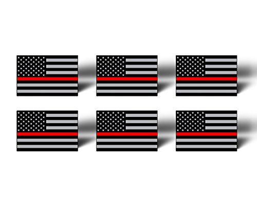 RED LINE 6 Pack MINI American Flag Subdued Vinyl Stickers Decals - Support Fireman Fire Man Vehicle Automotive TAG USA Car Truck Laptop Phone