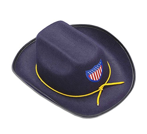 [Civil War Union Officer Cowboy Hat Child Costume Accessory Army Soldier Blue New] (Child Army Soldier Costumes)