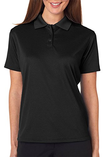UltraClub Ladies Elite Mini-Check Jacquard Polo Shirt, Black, Large. (Pack of 5) by UltraClub