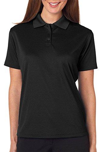 UltraClub Ladies Elite Mini-Check Jacquard Polo Shirt, Black, M (Pack of 6) by UltraClub