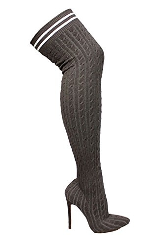 Liliana Dijhoge Gebreide Gestrekte Trui Sok Over De Knie Stiletto Bootie Xaya10 Grijs