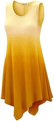 LL Womens Sleeveless Boho Tie-Dye Ombre Tunic Tank Top - Made in USA