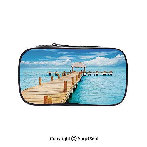 (Big Capacity Pencil Case 1L Storage,Bungalow on Clear Sea Travel Destination Beach Seascape Exotic View Light Brown Blue Aqua 5.1inches,Desk Pen Pencil Marker Stationery Organizer with Zipper for)