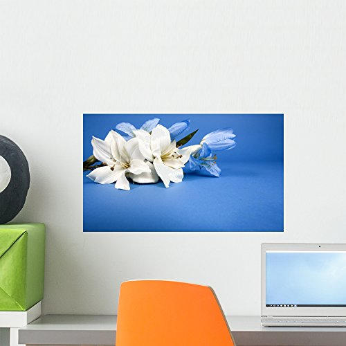 White Lily Florist (White Artificial Lilly Flower Wall Mural by Wallmonkeys Peel and Stick Graphic (18 in W x 11 in H) WM34121)