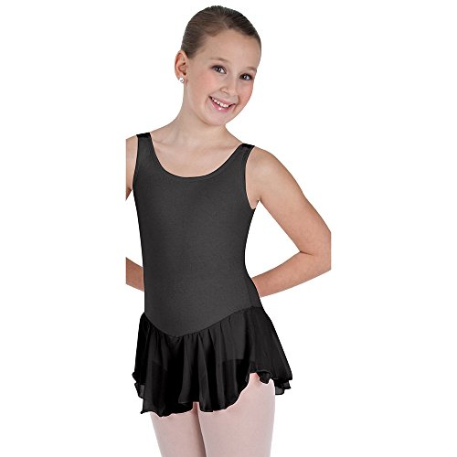 ear Tank Skirt Leotard, Black, 16 (Body Wrappers Tank Leotard)