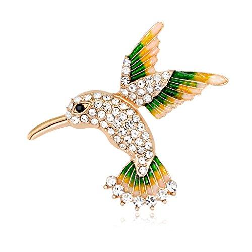 Collars Cat Swarovski (Mimgo Rhinestone Crystal Bird Brooches Collar Pins Corsage Animal Badges Jewelry Women)
