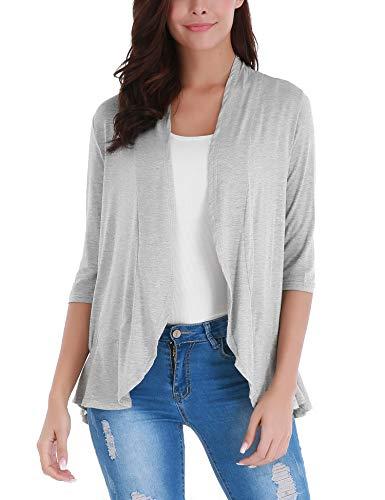 (FISOUL Women's Classic 3/4 Sleeve Open Front Cropped Bolero Cardigan Grey XL)