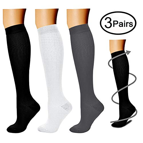 Compression Socks (3 Pairs), 15-20 mmhg is BEST Athletic & Medical for Men & Women, Running, Flight, Travel, Nurses - Boost Performance, Blood Circulation & Recovery (Small/Medium, Black+White+Gray) - Lightweight Stockings