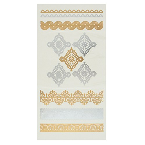 Capelli New York Single Sheet Lace Temporary Tattoo Gold Combo ONE SIZE