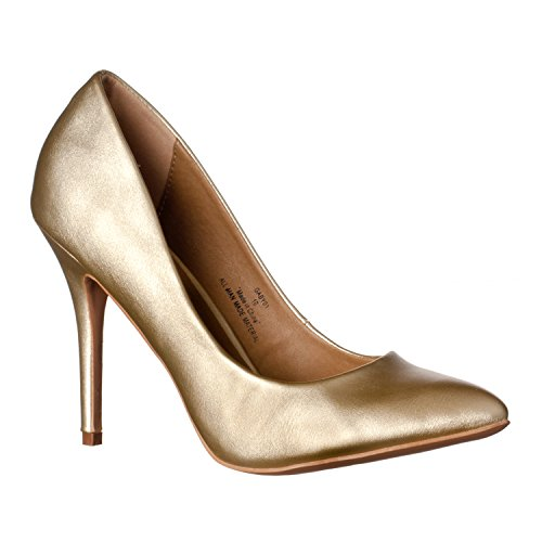 Riverberry Women's Gaby Pointed Closed Toe Stiletto Pump Heels, Gold PU, 6.5 Sexy Gold Pu Women Shoes