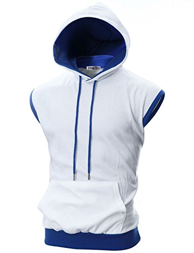 OHOO Mens Slim Fit Sleeveless Color Combination Lightweight Hooded Vest /DCF114-WHITE/BLUE-2XL