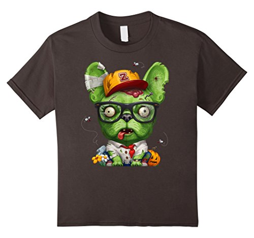 Kids French Bulldog Zombie Halloween T-Shirt 10 Asphalt (Funny French Bulldog Halloween Costumes)