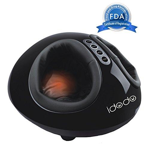 IDODO Electric Shiatsu Foot Massager with Mild Heating Deep Kneading Rolling Vibration Display Air Pressure Relax 110v(Black)