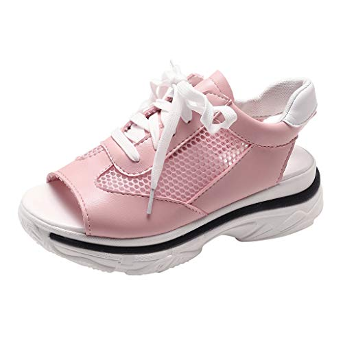 - Slip-On Mule Sneakers for Women,Londony Breathable Wedge Shoes Platform Sandals Wide Lace Up Sneakers Women Pink