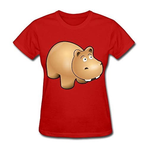 Red Hippo Short Sleeve Shirt For Girlfriend Size M