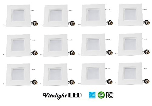 (12 Pack)4-inch LED Square Downlight Trim, 10W (100W Replacement), Square Recessed Light, Dimmable, 700LM, ENERGY STAR, Retrofit LED Recessed Lighting Fixture (3000K Soft White) by Vitalight Led