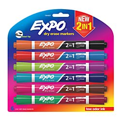 Medium Chisel Tips - Expo(R) 2-in-1 Dry-Erase Markers, Chisel Tip, Assorted Ink Colors, Pack of 6