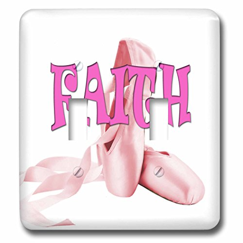 3dRose RinaPiro Kids - Faith. Pink ballet shoes. - Light Switch Covers - double toggle switch (lsp_268796_2) by 3dRose