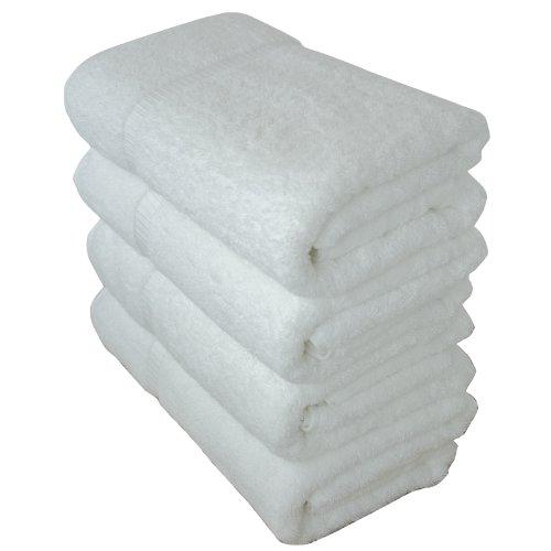 Luxury Hotel & Spa Bath Towel 100% Genuine Turkish Cotton, 27 x 54 ,Set of 4,White