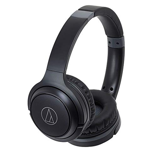Audio-Technica ATH-S200BTBK Bluetooth Wireless On-Ear Headphones with Built-In Mic & Control, Black