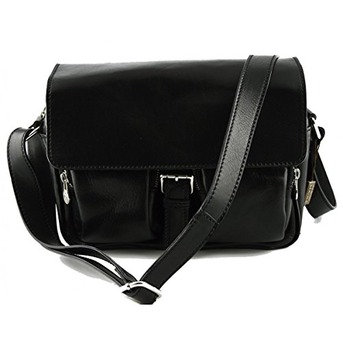 Borsa A Tracolla Per Donna In Pelle Vera Colore Nero - Pelletteria Toscana Made In Italy - Borsa Donna