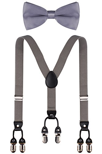 CEAJOO toddler suspenders grey toddler bow tie little boy suspenders and bow tie set Grey (Boys Dress Up Ideas)