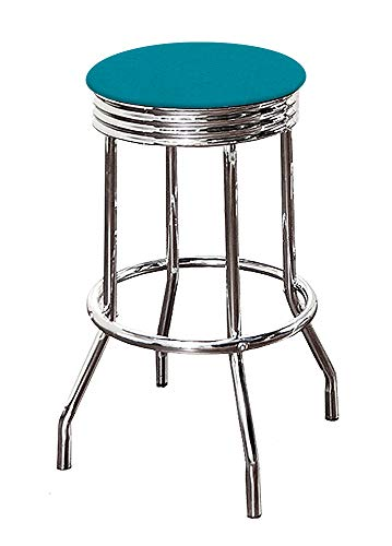 "The Furniture Cove Bar Stool Chrome Metal Finish 29"" Tall Swivel Seat with a Turquoise Canvas Cushion"