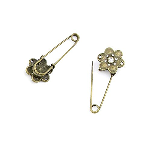 60pcs Jewelry Making Charms Jewellery Charme Antique Bronze Brass Tone Findings Lots Bulk Supply Supplies Repair Vintage Retro CL083 Plum Brooch Pin