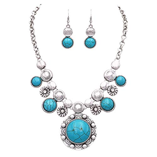 Rosemarie Collections Women's Southwestern Style Circular Turquoise Concho Statement Necklace Earrings Set