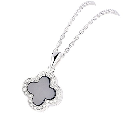 Changeable Pendant Necklaces - Black Agates & Crystals,Solid 925 Sterling Silver (Four Leaf Clover) ()