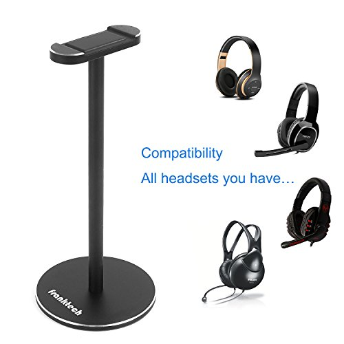 Plantronics Aviation Headsets (Headphone Stand Gaming Headset Holder FRANKTECH Solid Aluminum Earphone Stand with Anti-slip Mat for All Headphone Size (Black))