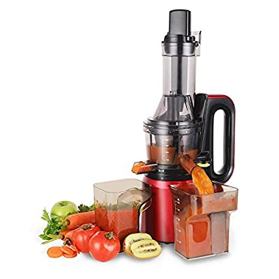Cusimax BPA-free 240W Slow juicer, 50RPMs Quiet Fruit Vegetable Masticating Juicer for Highly Efficient Juice Extraction, 2'' Wide Feed Chute, CMSJ-800R, Red
