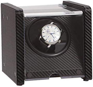 自動時計ワインダー木材回転電気時計ボックスサイレントモーター時計ケース誕生日プレゼント、ブラック