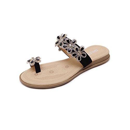 - Jazlyn Women's Bohemian Flowers Rhinestones Toe Ring Slide Flat Sandals (US5.5, Black Rhinestones Flower)