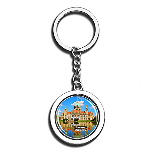 - Hannover Hanover City Hall Germany 3D Crystal Creative Keychain Spinning Round Stainless Steel Key Chain Ring Travel City Souvenir Collection